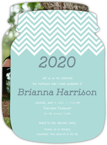 White Chevrons Graduation Invitation