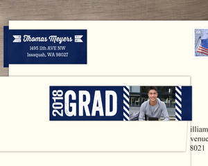 Bold Blue Chalkboard Graduation Address Label