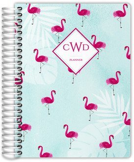 Tropical Watercolor Flamingo Pattern Daily Planner