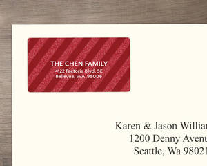 Red Diagonal Striped Glitter Address Label