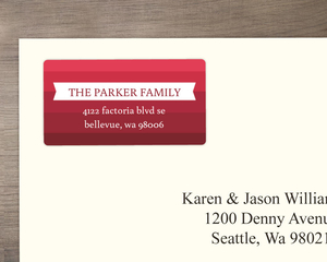Modern Crimson Striped Address Label