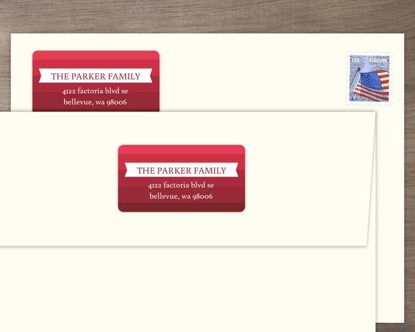 modern crimson striped address label address labels