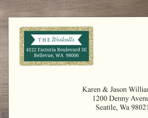 Emerald Green and Gold Glitter Address Label