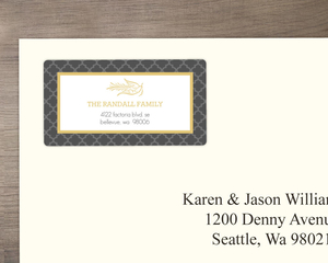 Elegant Gray and Gold Dove Address Label