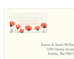 Coral and Mint Country Floral  Address Label