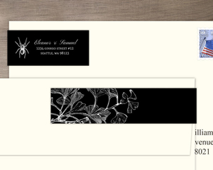 Gothic Ginkgo Halloween Address Label
