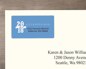 Brown and Skyblue Blocks  Address Label