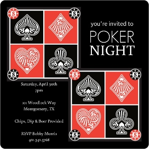 Red And Black Suits Poker Night Invitations Magnet