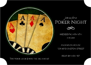 Black 4 Of A Kind Poker Night Invitation Magnet