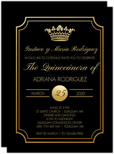 Black & Gold Crown Quinceanera Invitation