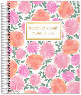 Pink Watercolor Flowers Wedding Planner