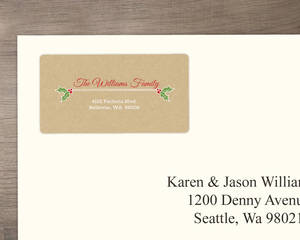 Red Banner And Mistletoe Holiday Address Label