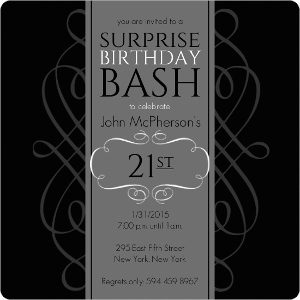 Black And Grey Formal Soiree Surprise Party Invite Magnet