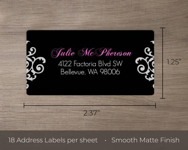 black and pink flourish sweet 16 birthday address label address labels