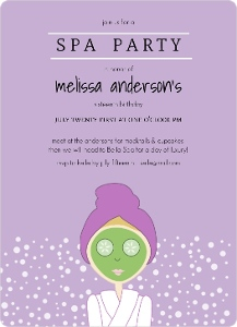 Purple Spa Girl Birthday Party Invitation Magnet