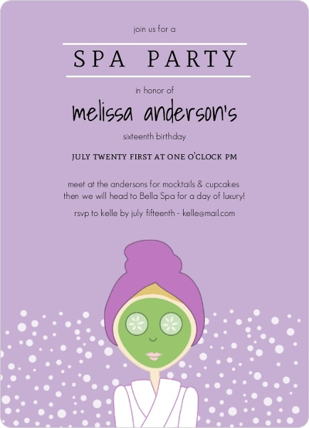 Purple Spa Girl Birthday Party Invitation