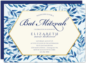 Elegant Blue Watercolor Foliage Bat Mitzvah Invitation