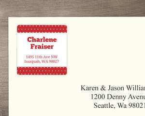 Red Polka Dot Address Label