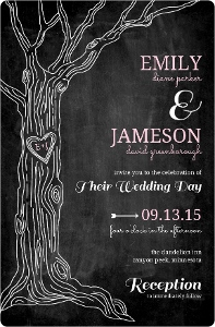 Rustic Chalkboard Tree Wedding Invitation