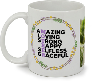 Spring Wreath Mom Photo Custom Mug
