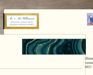 Turquoise & Faux Foil Geode Wedding Address Label