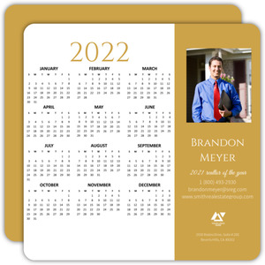 Gold Bar Business Calendar Card