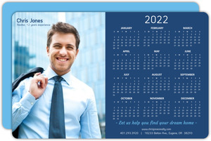 Blue Modern Blocks Real Estate Business Calendar Card