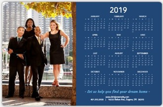 Blue Modern Blocks Real Estate Business Magnet Calendar