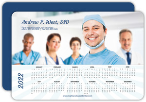 Blue Sun Rays Health Service Business Calendar Card