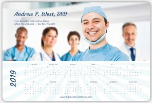 Blue Sun Rays Health Service Business Magnet Calendar