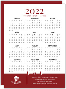 Red Heartbeat Health Service Business Calendar Card