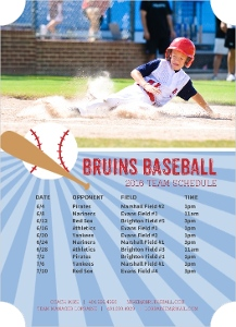Modern Blue Baseball Magnet Sports Schedule
