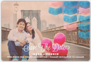 Pink and Blue Watercolor Save The Date Magnet
