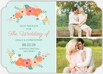Coral Mint Country Floral Save The Date Magnet