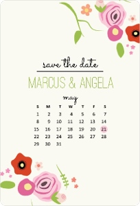 Delicate Blooming Florals Save The Date Magnet Calendar