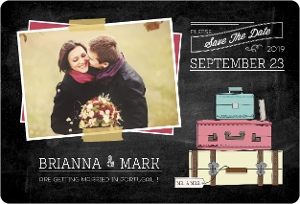Vintage Chalkboard Destination Save The Date Magnet