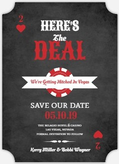 Chalkboard Vegas Poker Chip Save The Date Magnet