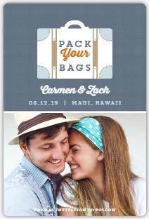 Retro Luggage Save The Date Magnet