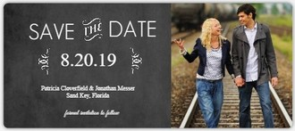 Typographic Chalkboard Photo Save The Date Announcement