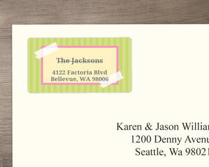 Photo Corners Pink And Green Address Label