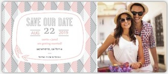 Pink Modern Geometric Pattern Save The Date Card