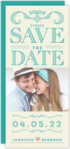 Classy Turquoise Lettering Save The Date Card