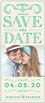 Classy Turquoise Lettering Save The Date Magnet