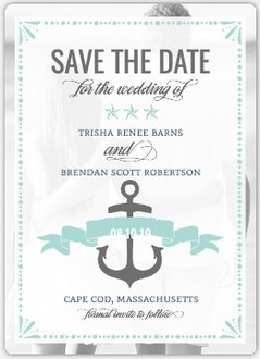 Nautical Navy Mint Save The Date Magnet