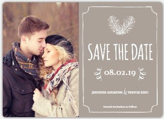 Artistic Framed Feathers Save the Date Announcement