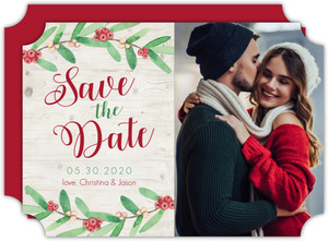 Watercolor Christmas Branch Save The Date