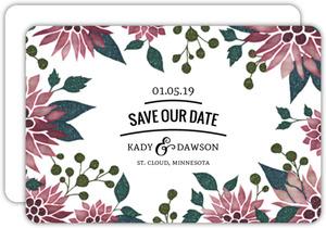 Elegant Holiday Florals Save The Date Card