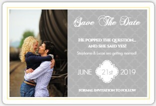 Gray and Yellow Morrocan Pattern Save the Date Announcement