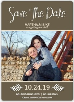 Simple Brown and Cream Paper Save the Date