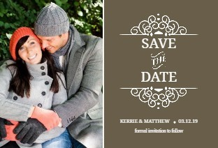 Brown Intricate White Frame Save the Date